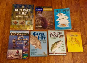 A selection of Books I've collected - which cover various techniques and fly patterns used for catching carp on Fly/Lures .