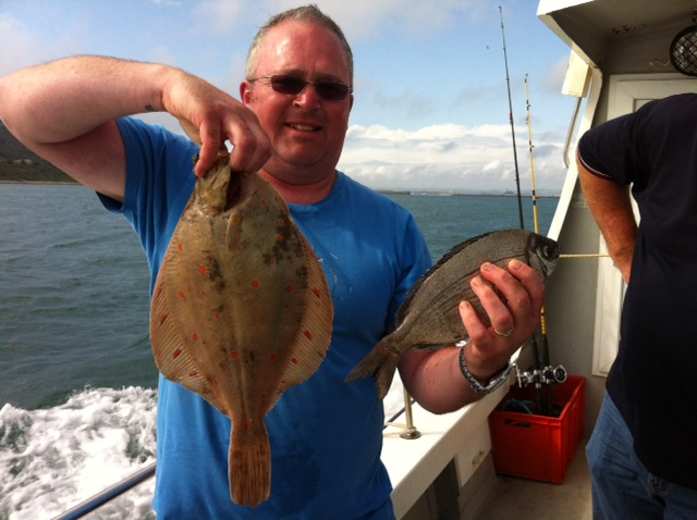 A nice brace of Bream and Plaice on our boat trip